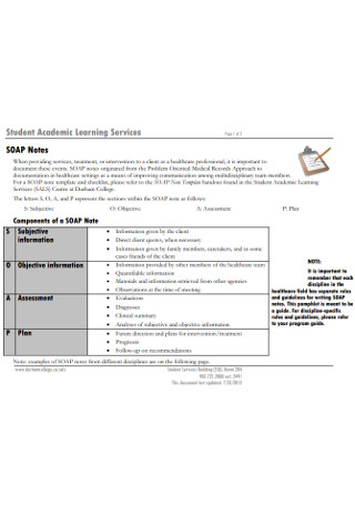 Student Academic Learning SOAP Notes