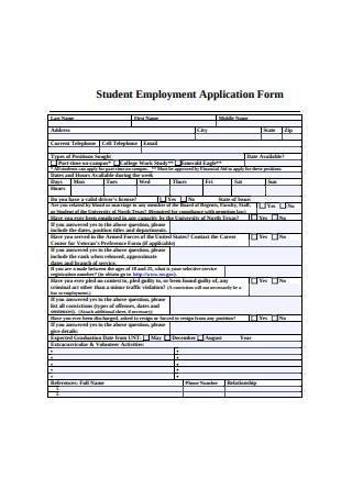 Student Employment Application Form
