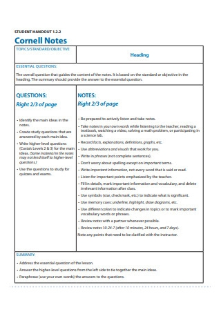 Student Handout Cornell Notes