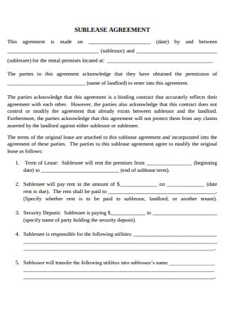 Student Legal Sublease Agreement