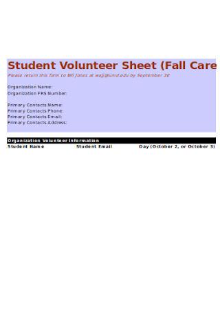 Student Volunteer Sheet