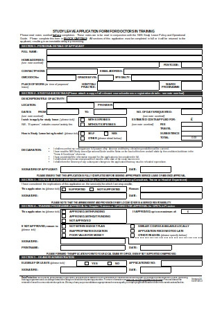 Study Leave Application Form Sample