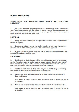 Study Leave Procedure
