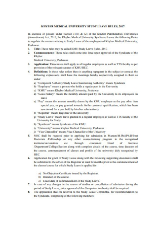Study Leave Rules Format