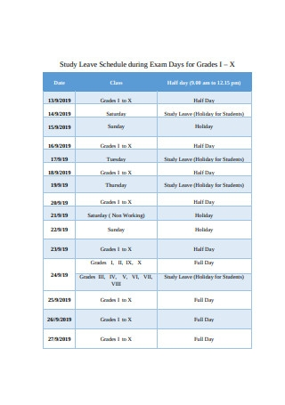 Study Leave Schedule