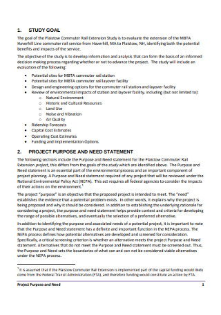Study Project Statement of Need Template