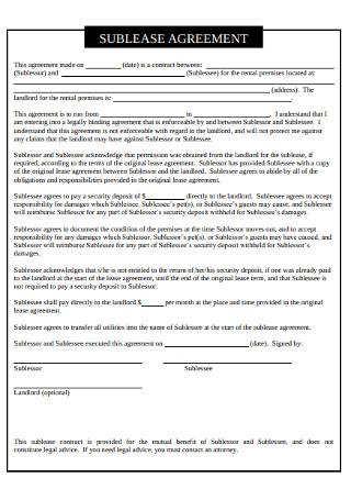 Sublease Agreement in PDF