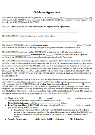 Sublease Rental Agreement