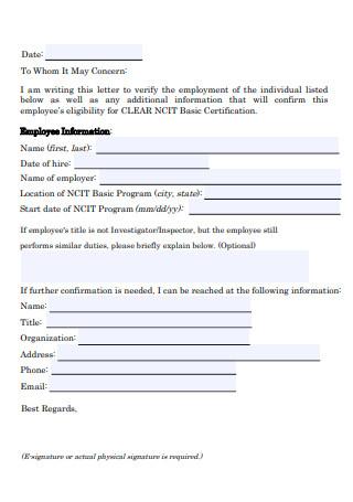 Supervisor Verification Letter Form