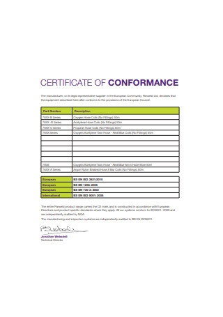 Supplier Certificate of Conformance Sample