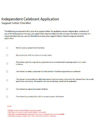 Support Letter Checklist