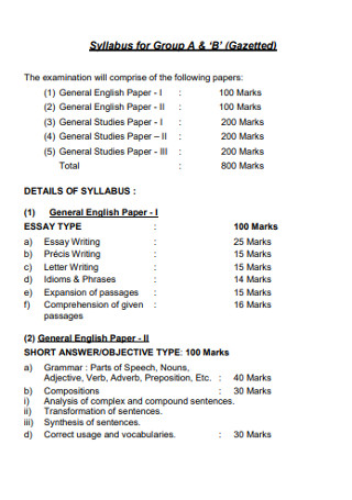 Syllabus for Groups