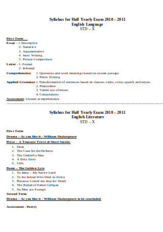 Syllabus for Half Yearly Exam