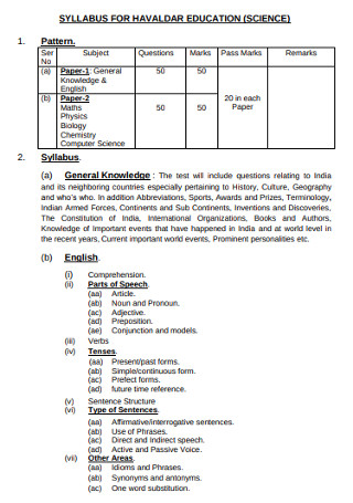 Syllabus for Science Education