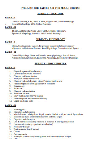 Syllabus for Subject Paper