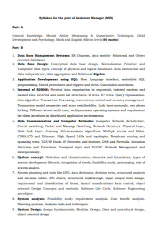 Syllabus for the Post of Assistant Manager