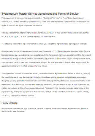 Systemseven Master Terms of Service Agreement