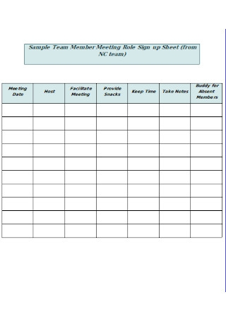 Team Member Meeting Role Sign up Sheet