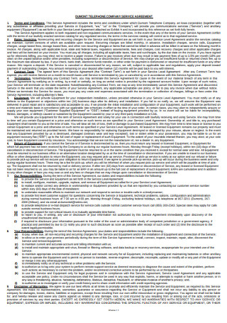 Telephone Company Terms of Service Agreement