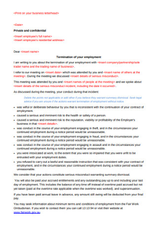 Termination of your Employment Letter