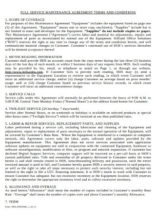 Terms of Service Maintenance Agreement