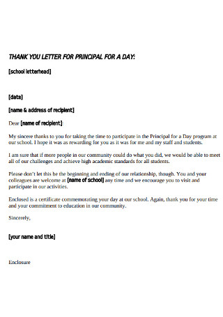 Thank You Letter for Principal