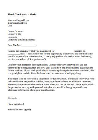 Thank You Model Letter