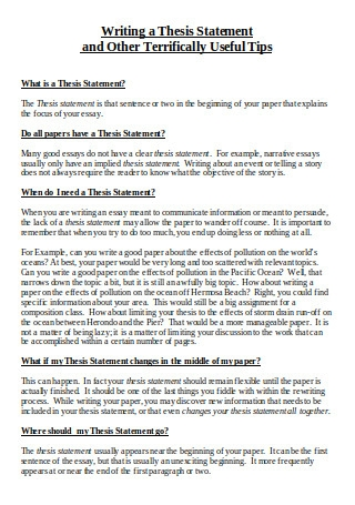 Thesis Statement Guide