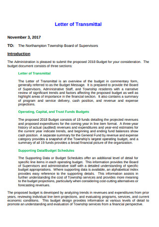 Township Board of Supervisors Letter of Transmittal