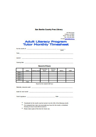 Tutor Monthly Timesheet