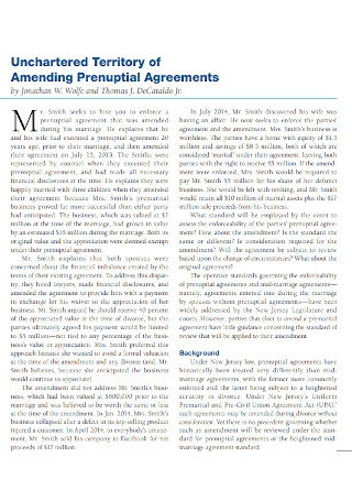 Unchartered Territory of Amending Prenuptial Agreements