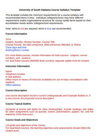 University Course Syllabus Template
