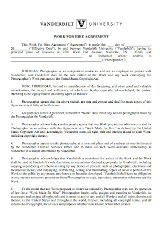 University Work for Hire Agreement
