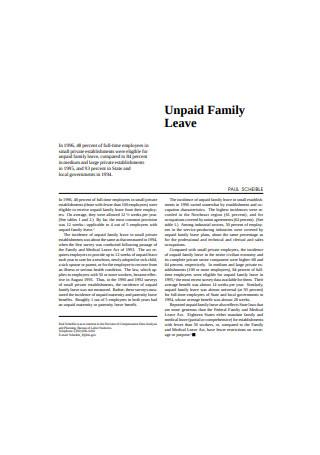 Unpaid Family Leave
