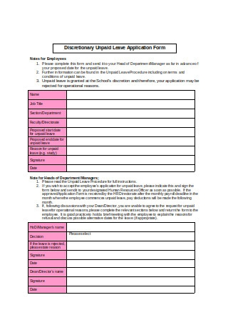 Unpaid Leave Application Form