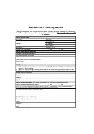 Unpaid Parental Leave Request Form