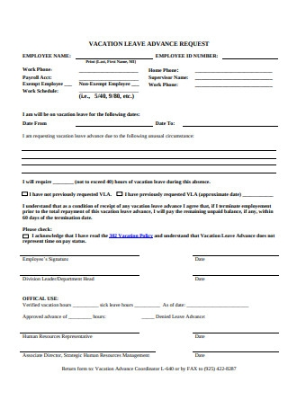 Vacation Leave Advance Request Form