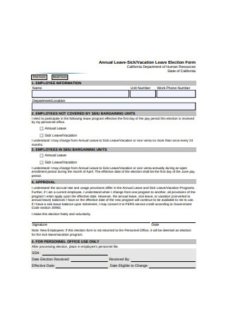 Vacation Leave Election Form
