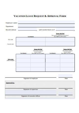 Vacation Leave Request and Approval Form