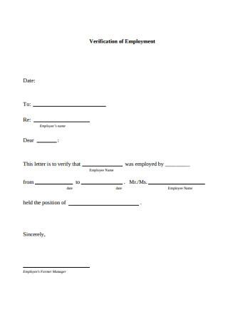 Verification of Employment Letter Template
