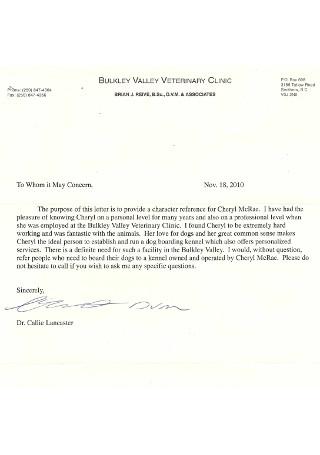 Veternity Clinic Character Referece Letter