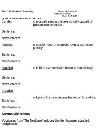 Vocabulary Cornell Notes