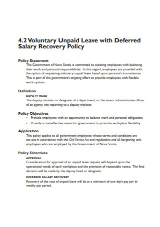 Voluntary Unpaid Leave Format