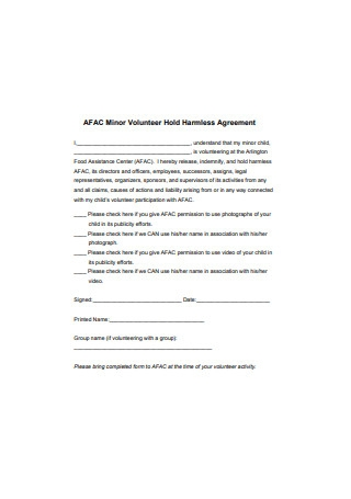 Volunteer Hold Harmless Agreement