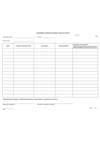 Volunteer Sign Up Sheet Sample