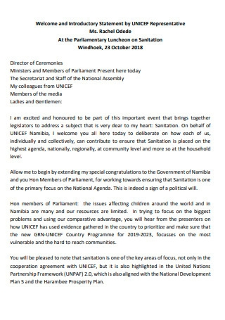 Welcome and Introductory Statement