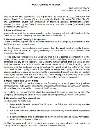 Work Fees for Hire Agreement
