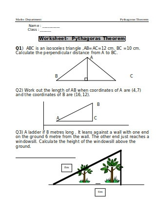Worksheet Pythagorean Theorem