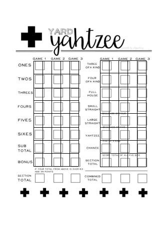 Yahtzee Game Scorecard