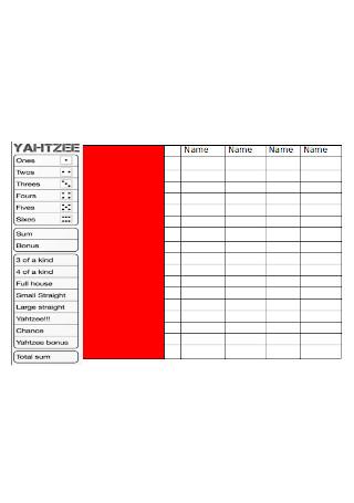 Yahtzee Score Board